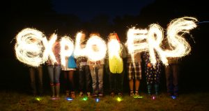 Explorers logo made with sparklers